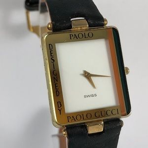 a67d0361134 Vintage Paolo Gucci Gold Tone Watch Navy Strap